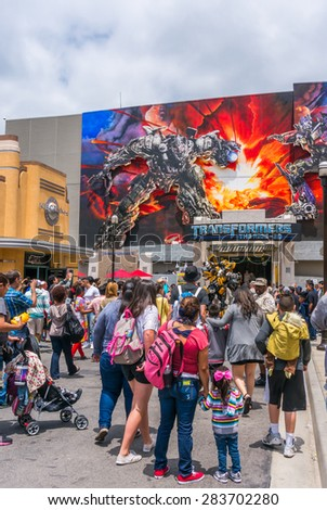 LOS ANGELES, CA/USA - MAY 24: Tourist entrance of the Transformers Ride at Universal studios hollywood on May 24, 2015 in Los Angeles, CA, USA.  - stock photo