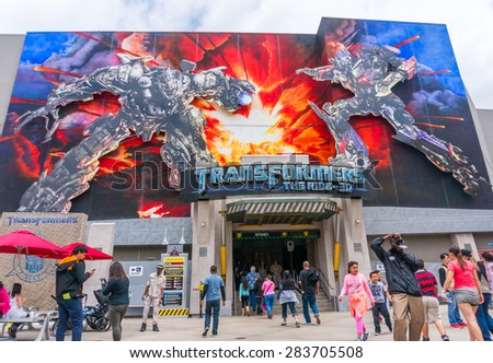 LOS ANGELES, CA/USA - MAY 24: Transformers ride at Universal studios hollywood on May 24, 2015 in Los Angeles, CA, USA. - stock photo