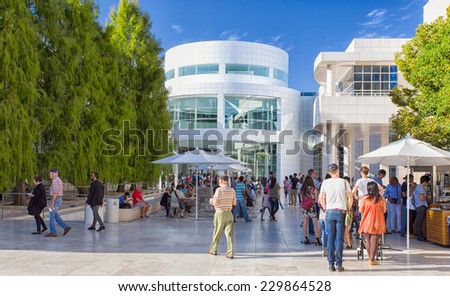 LOS ANGELES, CA/USA - NOVEMBER 9, 2014:  Unidentified visitors at the Getty Center. The Getty Center is a campus of the Getty Museum and other programs of the Getty Trust. - stock photo