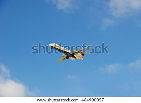 LOS ANGELES/CALIFORNIA - AUG 5, 2016: Delta Airlines commercial aircraft approaching runway for a landing at Los Angeles International Airport, Los Angeles, California USA