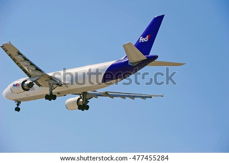 LOS ANGELES/CALIFORNIA - AUG. 12, 2016: FedEx Airbus A300-F4-605R commercial cargo aircraft approaches runway for a landing at Los Angeles International Airport, Los Angeles, California USA