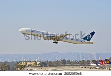 LOS ANGELES/CALIFORNIA - AUG. 9, 2015: New Zealand Airlines Boeing 777-319 (ER) departing from Los Angeles International Airport in Los Angeles, California, USA - stock photo