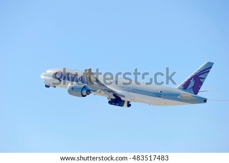 LOS ANGELES/CALIFORNIA - AUG.14, 2016: Qatar Airways Boeing 777-2DZ(LR) commercial aircraft is airborne as it departs Los Angeles International Airport, Los Angeles, California USA