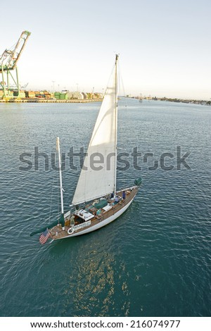 "LOS ANGELES/CALIFORNIA - AUGUST 22, 2014: The Jada out for afternoon sail at the ""Tall Ships Festival"" in Port of Los Angeles August 22, 2014 San Pedro, California USA"