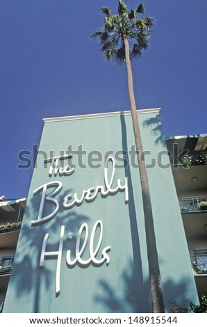 LOS ANGELES, CALIFORNIA - CIRCA 1990'S: Beverly Hills Hotel in Los Angeles, California - stock photo