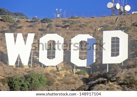 LOS ANGELES, CALIFORNIA - CIRCA 1990'S: Part of the Hollywood sign on Mount Lee, Hollywood Hills is Los Angeles, CA - stock photo