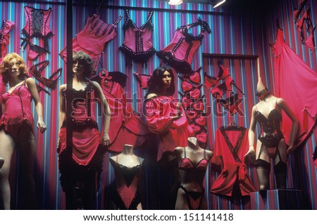 LOS ANGELES, CALIFORNIA - CIRCA 1980's: Women's lingerie in a storefront window, Melrose Blvd, Los Angeles, CA - stock photo