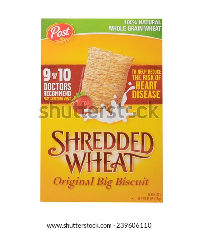Los Angeles,California Dec 10th 2014: A nice Box Of Post Shredded Wheat - stock photo