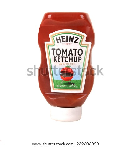 Los Angeles,California Dec 9th 2014: Nice isolated Bottle of Heinz Catchup - stock photo