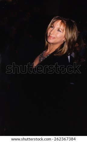 LOS ANGELES, CALIFORNIA - exact date unknown - circa 1990 - Barbra Streisand arriving at a formal celebrity event - stock photo