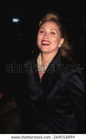 LOS ANGELES, CALIFORNIA - exact date unknown - circa 1990 - Faye Dunaway arriving at a celebrity event - stock photo