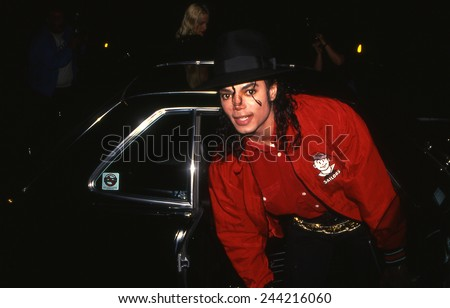LOS ANGELES, CALIFORNIA - Exact date unknown - circa 1990 - Michael Jackson arriving at a celebrity event - stock photo