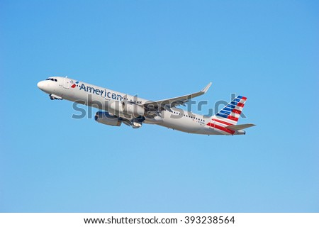 LOS ANGELES/CALIFORNIA - FEB. 21, 2016: American Airlines Airbus A321 is airborne as it departs Los Angeles International Airport, Los Angeles, California USA   - stock photo
