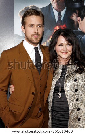 LOS ANGELES, CALIFORNIA - January 7, 2013. Ryan Gosling and mom at the Los Angeles premiere of 'Gangster Squad' held at the Grauman's Chinese Theatre in Los Angeles.   - stock photo