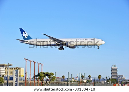 LOS ANGELES/CALIFORNIA - JULY 12, 2015: Air New Zealand Boeing 777-300 ER on approach to runway at Los Angeles International Airport in Los Angeles, California, USA