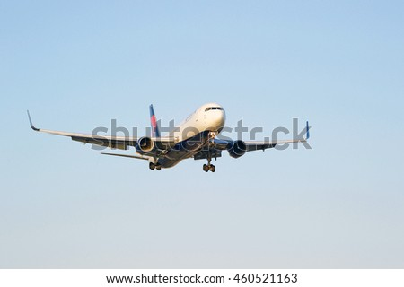 LOS ANGELES/CALIFORNIA - JULY 24, 2016: Delta Airlines commercial aircraft approaches runway for a landing at Los Angeles International Airport, Los Angeles, California USA