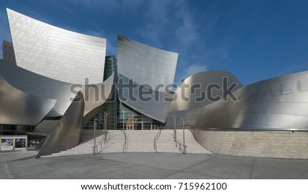 LOS ANGELES, CALIFORNIA - JULY 31: Exterior of the Walt Disney Concert Hall at on July 31, 2017 in Los Angeles, California