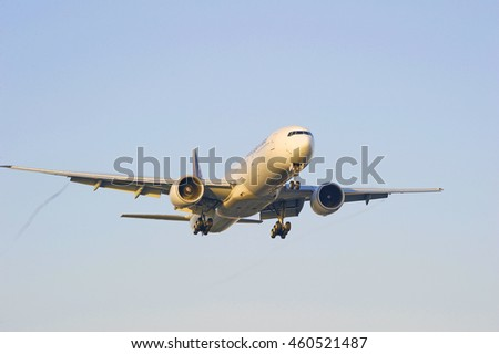 LOS ANGELES/CALIFORNIA - JULY 24, 2016: Philippines Airlines Boeing 737 commercial aircraft approaches runway for a landing at Los Angeles International Airport, Los Angeles, California USA