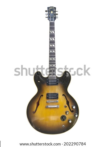 LOS ANGELES, CALIFORNIA - July 26th, 2009:  Illustrative editorial photo of a vintage 1959 Gibson ES 335 hollow body stereo electric guitar. - stock photo