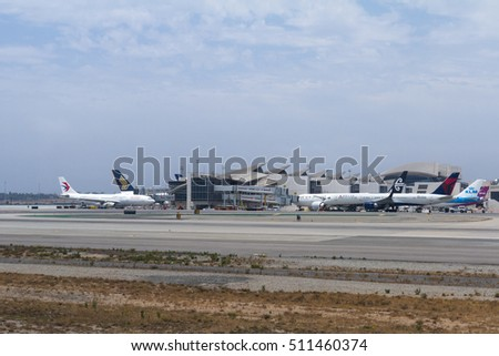 Los Angeles, California- June 28: Airplanes in LAX international Airport. June 28 2016, Los Angeles, California.
