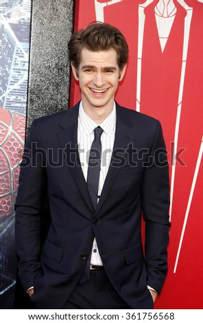 "LOS ANGELES, CALIFORNIA - June 28, 2012. Andrew Garfield at the Los Angeles premiere of ""The Amazing Spider-Man"" held at the Westwood Village Theater, Los Angeles.   - stock photo"