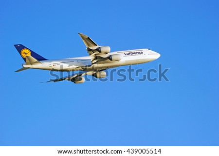 LOS ANGELES/CALIFORNIA - JUNE 18, 2016: Lufthansa Airlines Boeing 747 commercial aircraft is airborne as it departs Los Angeles International Airport, Los Angeles, California USA