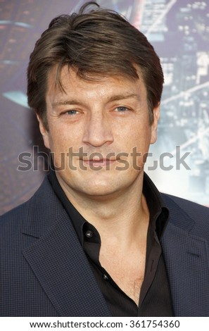 "LOS ANGELES, CALIFORNIA - June 28, 2012. Nathan Fillion at the Los Angeles premiere of ""The Amazing Spider-Man"" held at the Westwood Village Theater, Los Angeles."