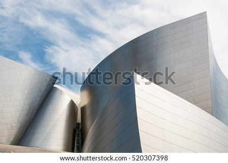 LOS ANGELES, CALIFORNIA - JUNE 5, 2016:  The landmark Disney Concert Hall, designed by Frank Gehry.  It seats 2265 people and is home of the Los Angeles Philharmonic orchestra.