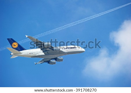 LOS ANGELES/CALIFORNIA - MARCH 14, 2016: Lufthansa Airbus A380 approaching Los Angeles International Airport for a landing, Los Angeles, California USA - stock photo