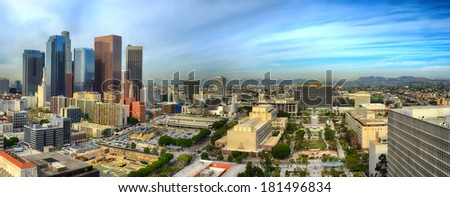 LOS ANGELES, CALIFORNIA - March 11th 2014:   Morning Panorama view of  Downtown skyscrapers Looking from the top of City hall to the Hollywood Hills, north - stock photo