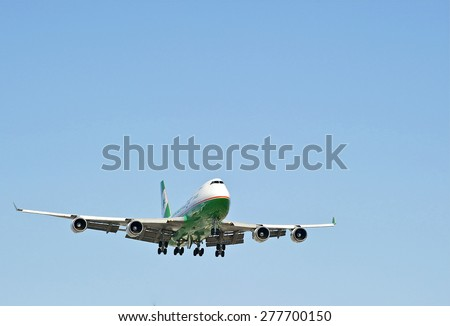 LOS ANGELES/CALIFORNIA - MAY 10, 2015: Air Cargo Boeing 747 jet on approach to runway at Los Angeles International Airport in Los Angeles, California, USA