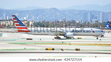 LOS ANGELES/CALIFORNIA - MAY 22, 2016: American Airlines Airbus A321 commercial aircraft taxiing along runway before take off at Los Angeles International Airport, Los Angeles, California USA   - stock photo
