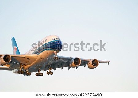 LOS ANGELES/CALIFORNIA - MAY 22, 2016: China Southern Airlines Airbus A380 commercial aircraft approaching the runway for a landing at Los Angeles International Airport, Los Angeles, California USA - stock photo