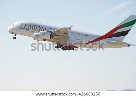 LOS ANGELES/CALIFORNIA - MAY 22, 2016: Emirates Airlines Airbus A380 is airborne as it departs Los Angeles International Airport in Los Angeles, California, USA - stock photo