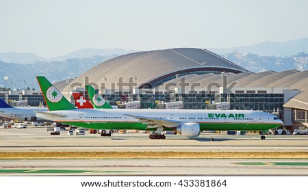 LOS ANGELES/CALIFORNIA - MAY 22, 2016: Eva Air Boeing 777-300ER is taxiing on the tarmac just before departure at Los Angeles International Airport, Los Angeles, California USA - stock photo