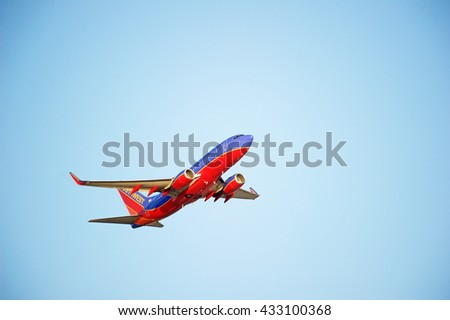 LOS ANGELES/CALIFORNIA - MAY 22, 2016: Southwest Airlines Boeing 737 is airborne as it departs Los Angeles International Airport, Los Angeles, California USA