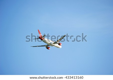 LOS ANGELES/CALIFORNIA - MAY 22, 2016: Virgin Airlines commercial aircraft is airborne as it departs Los Angeles International Airport, Los Angeles, California USA - stock photo