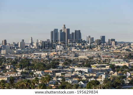 LOS ANGELES, CALIFORNIA - NOV 24:  Morning view of downtown Los Angeles.  Building boom increases downtown residential units 15% in two years to 30,600 on Nov 24, 2013 in Los Angeles, California.   - stock photo