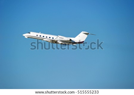 LOS ANGELES/CALIFORNIA - NOV. 13, 2016: Private Gulfstream Aerospace G-IV fixed wing multi engine aircraft is airborne as it departs Los Angeles International Airport, Los Angeles, California USA