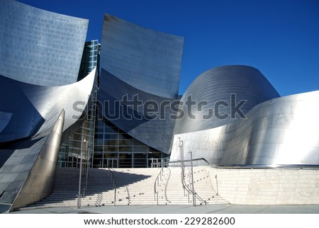 LOS ANGELES, CALIFORNIA - NOVEMBER 03, 2014: Exterior of the Walt Disney Concert Hall in of Los Angeles, designed by Frank Gehry. It opened on 2003, as the home of the Los Angeles Philharmonic. - stock photo