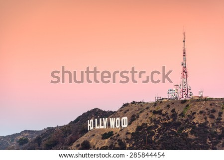 LOS ANGELES, CALIFORNIA - NOVEMBER 6, 2013: Hollywood sign in Los Angeles, California. The landmark sign dates from 1923. - stock photo