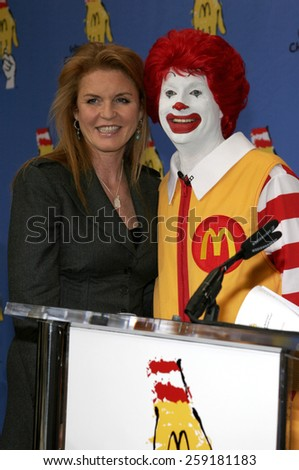LOS ANGELES, CALIFORNIA. November 15, 2005. Sarah Ferguson at the 2005 World Children's Day at the Ronald McDonald House in Los Angeles, California United States.