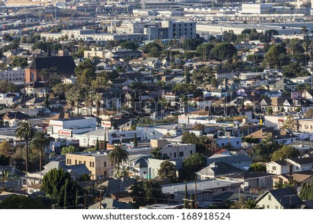 LOS ANGELES, CALIFORNIA - November, 24, 2013:  View of historic urban Lincoln heights northeast of downtown Los Angeles, California.