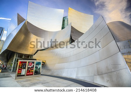 LOS ANGELES, CALIFORNIA - November 7, 2013: Walt Disney Concert Hall in LA. The building was designed by Frank Gehry and opened in 2003. - stock photo