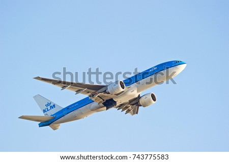 LOS ANGELES/CALIFORNIA - OCT. 21, 2017: KLM Royal Dutch Airlines Boeing 777-206ER aircraft is airborne as it departs Los Angeles International Airport. Los Angeles, California USA
