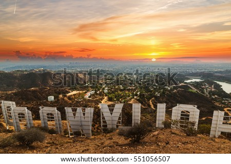 Los Angeles, California - October 28, 2016: Hollywood sign at sunset