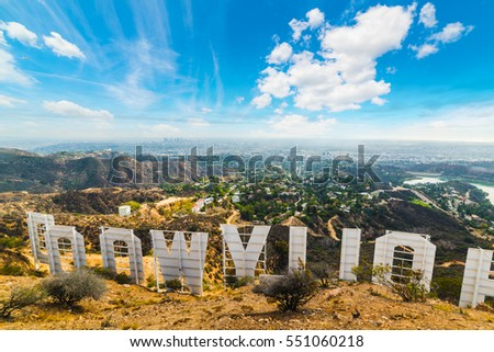 LOS ANGELES, CALIFORNIA - OCTOBER 27, 2016: Hollywood sign seen from behind with Los Angeles on the background