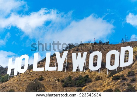 LOS ANGELES, CALIFORNIA - OCTOBER 27, 2016: Hollywood sign under a blue sky with clouds, California