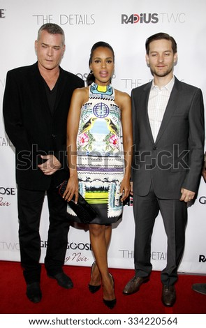 LOS ANGELES, CALIFORNIA - October 29, 2012. Ray Liotta, Kerry Washington and Tobey Maguire at the Los Angeles premiere of 'The Details' held at the ArcLight Cinemas in Los Angeles.