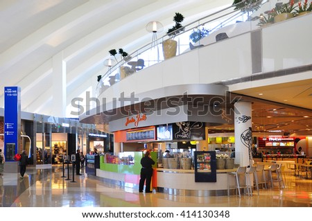 LOS ANGELES, CALIFORNIA, US - APRIL 26, 2014 : There are many duty free shops, and restaurants at Tom Bradley International Airport departure terminal .
